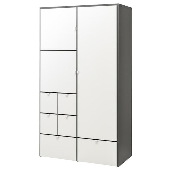 VISTHUS Gardrób, szürke/fehér, 122x59x216 cm