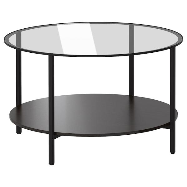 VITTSJÖ Dohányzóasztal, fekete-barna/üveg, 75 cm