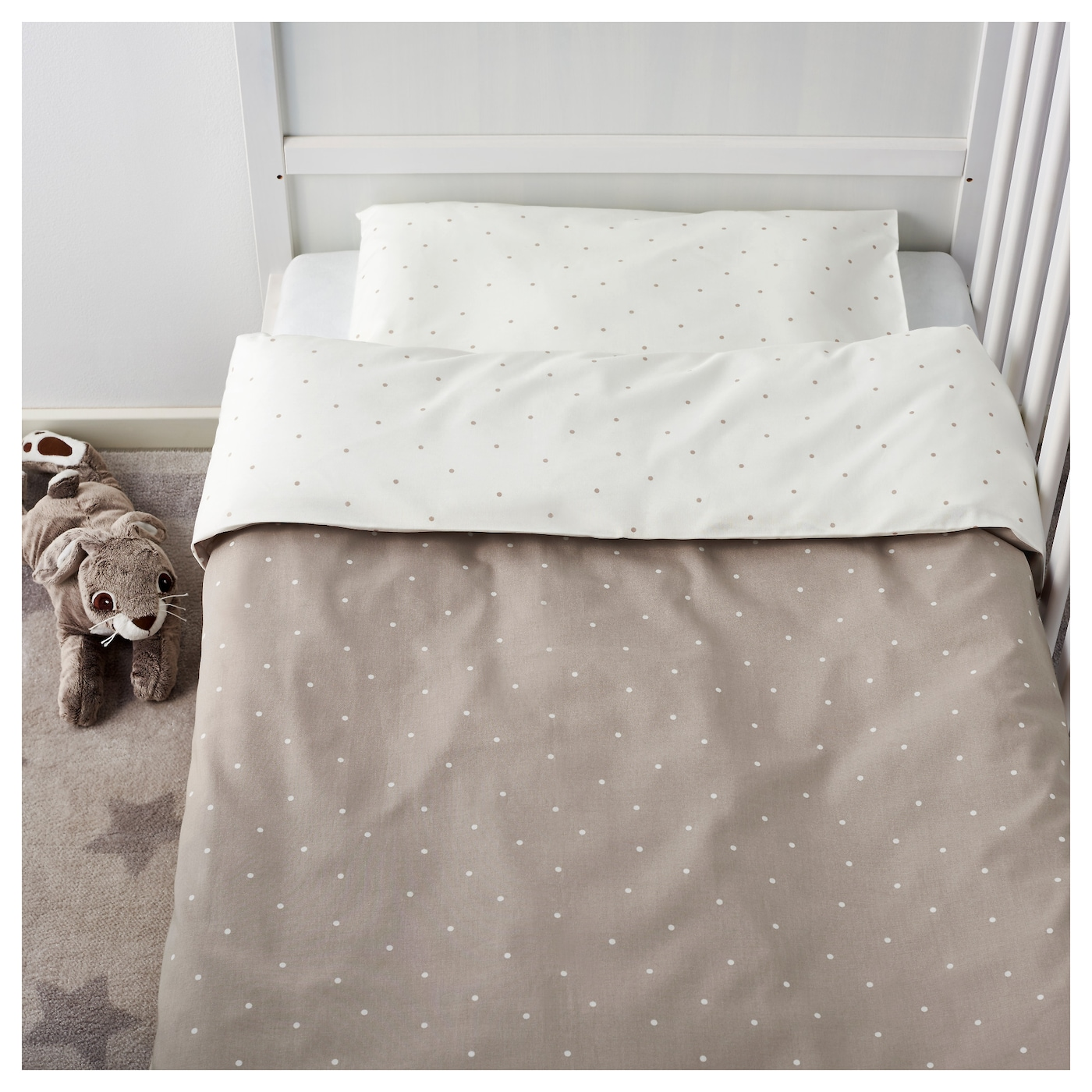 IKEA ÄLSKAD 3-piece bedlinen set for cot Cotton, soft and nice against your child's skin.