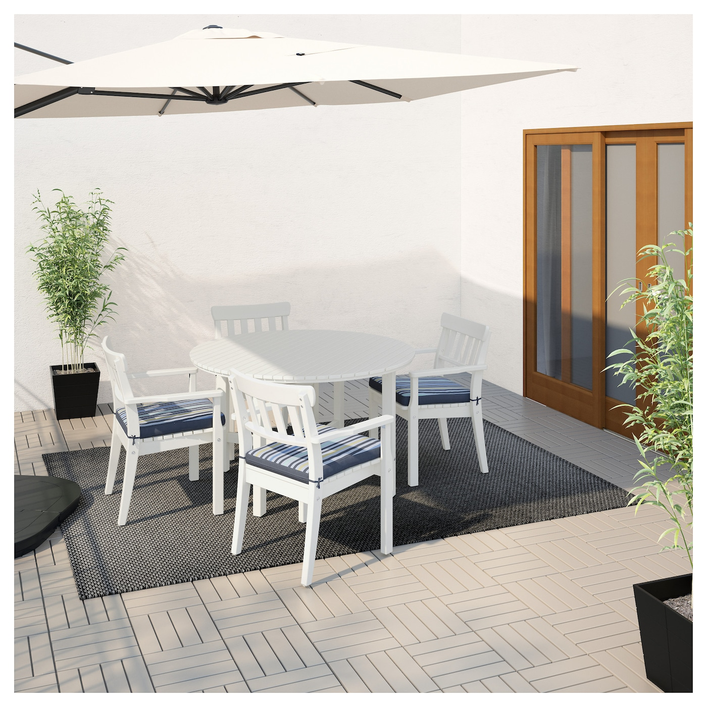 IKEA ÄNGSÖ table+4 chairs w armrests, outdoor