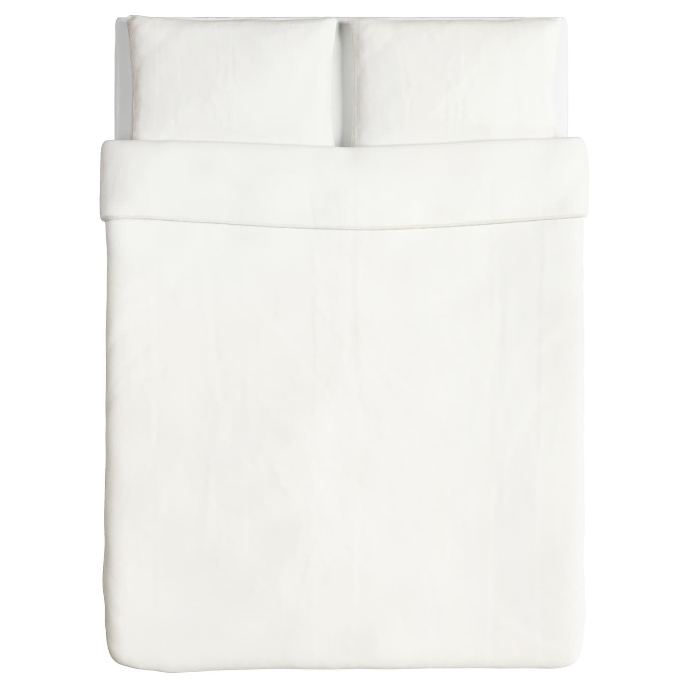 IKEA ÄNGSLILJA quilt cover and 2 pillowcases Cotton, feels soft and nice against your skin.