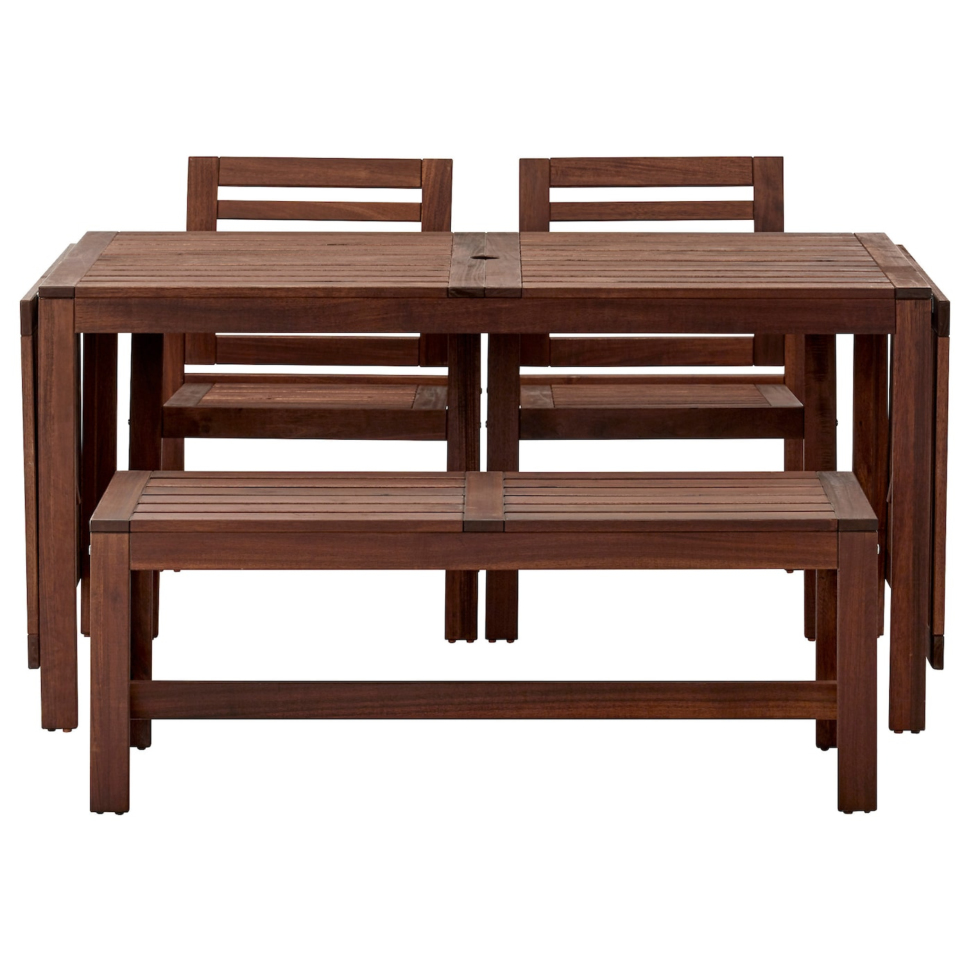 Pplar table 2 chrs w armr bench outdoor brown stained ikea for Outdoor side tables ikea