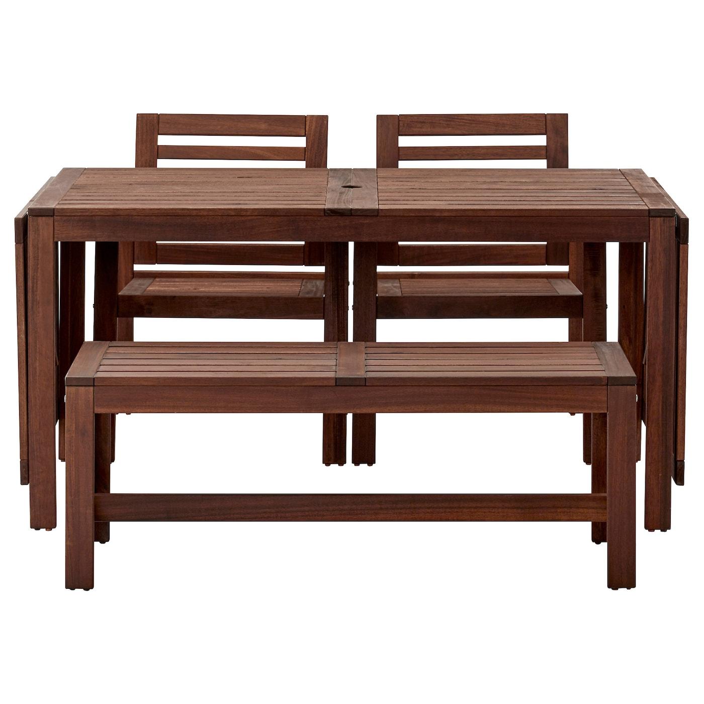 IKEA ÄPPLARÖ Table+2 Chrs W Armr+bench