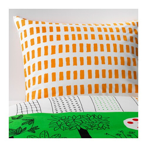 IKEA ÖNSKEDRÖM quilt cover and pillowcase Cotton, feels soft and nice against your skin.