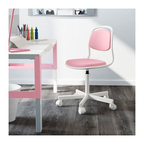 u00d6RFJ u00c4LL Junior chair White  vissle pink   IKEA