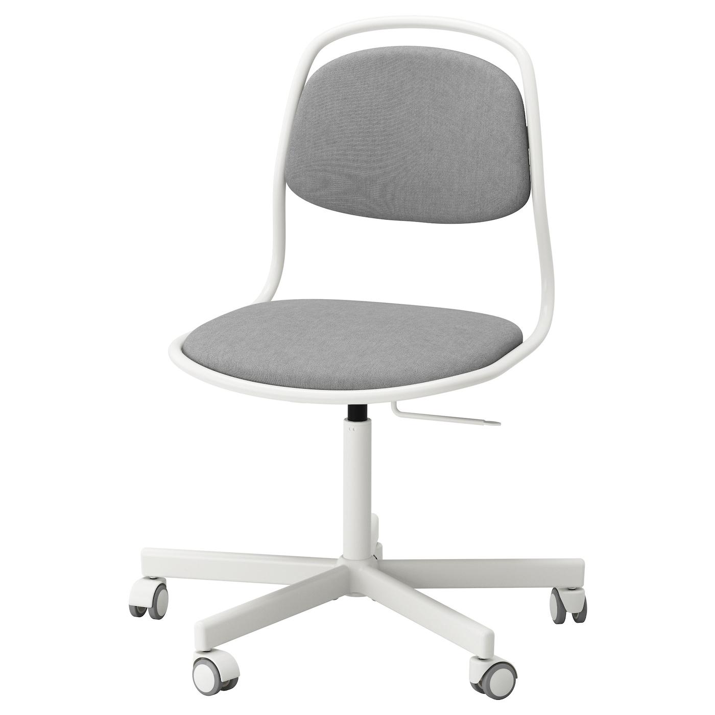 RFJ LL SPORREN Swivel Chair White Vissle Light Grey IKEA
