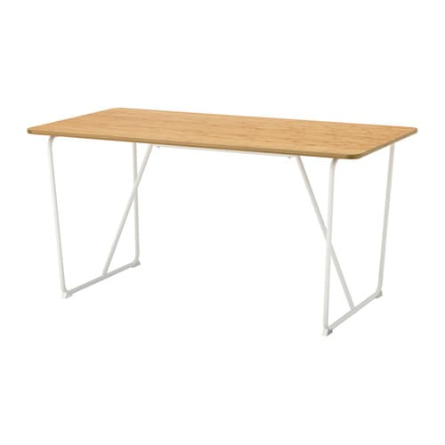 Vraryd table bamboo backaryd white 150x78 cm ikea - Table a roulettes ikea ...