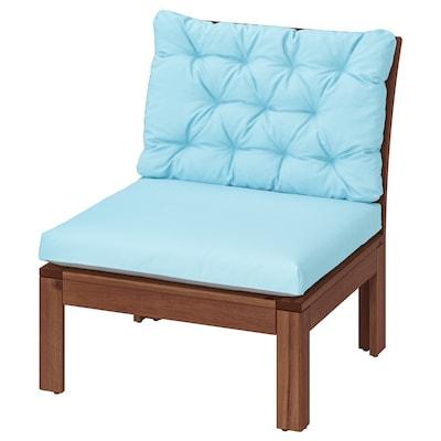 ÄPPLARÖ Easy chair, outdoor, brown stained/Kuddarna light blue, 63x80 cm