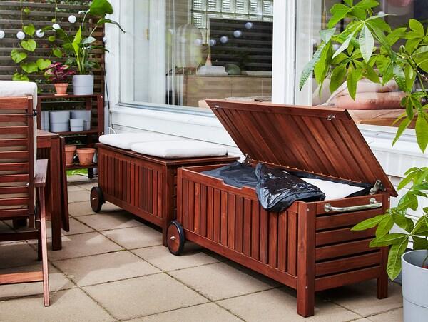 ÄPPLARÖ / TOSTERÖ Bench with storage bag, outdoor, brown stained, 128x57x55 cm