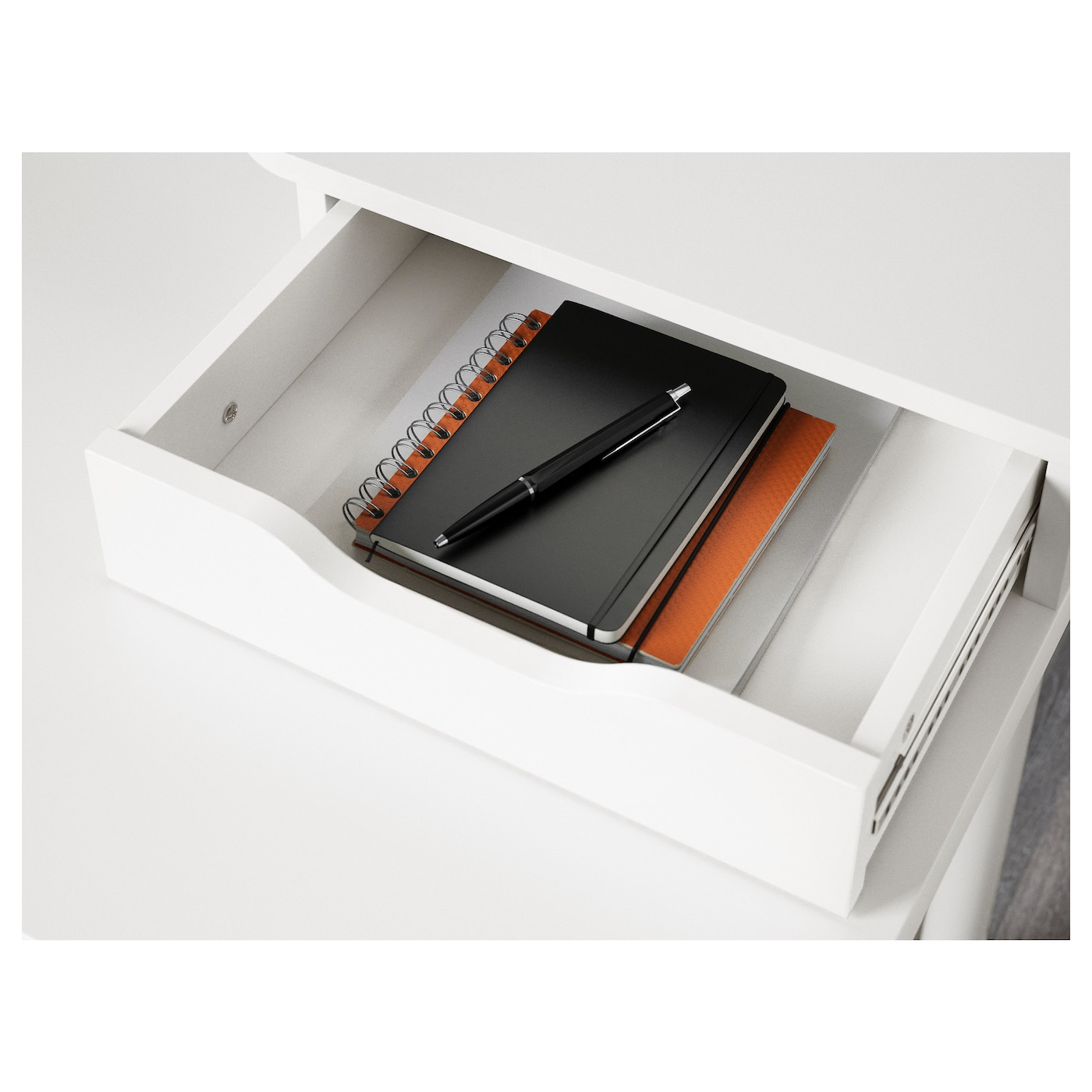 IKEA ALEX add-on unit Perfect storage for your laptop in the space between the 2 drawers.