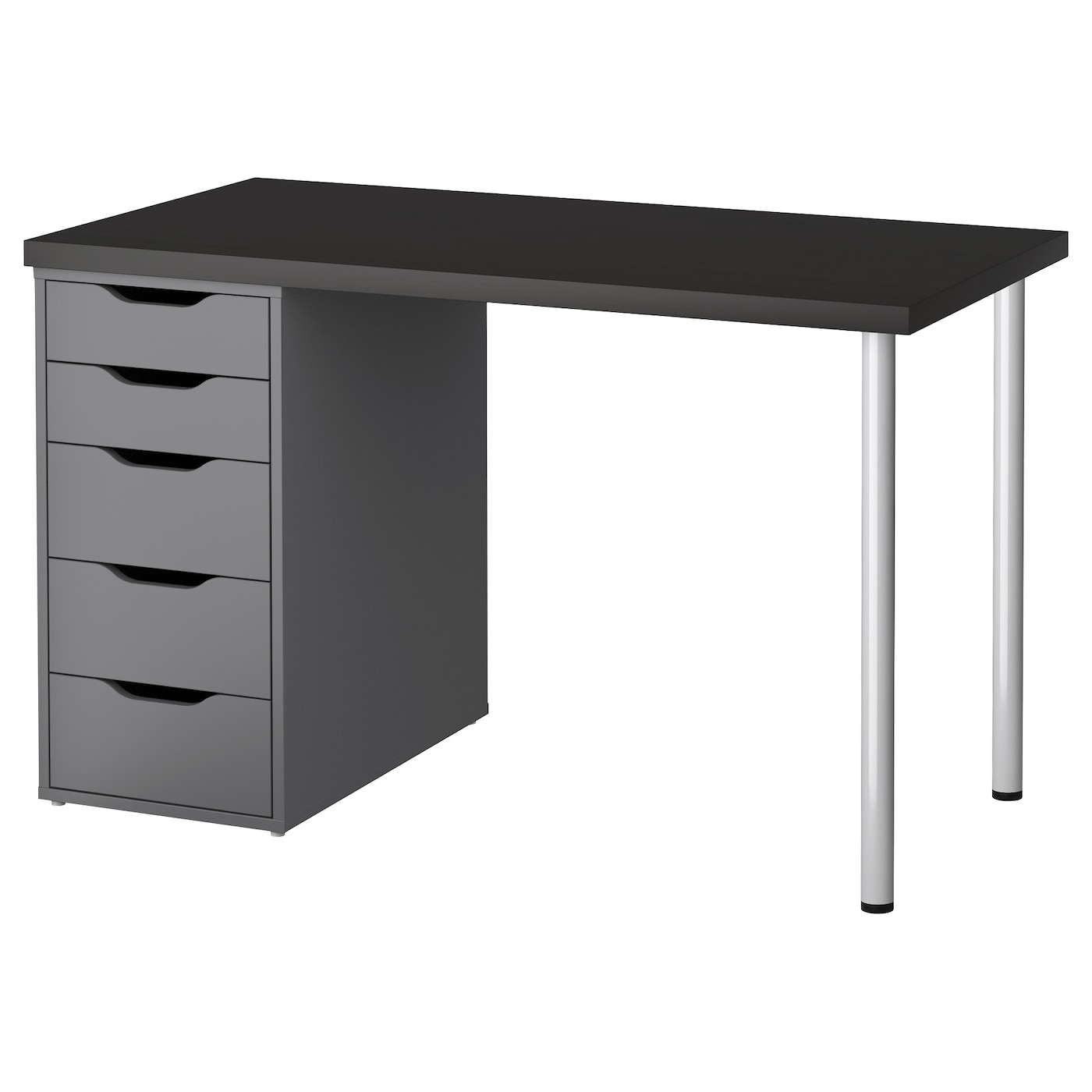 Alex linnmon table black brown grey 120 x 60 cm ikea for Ikea desk black