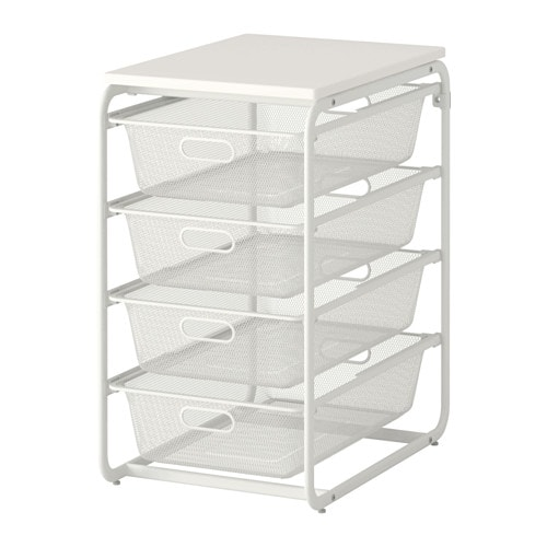 Algot Frame 4 Mesh Baskets Top Shelf White 41x60x75 Cm Ikea