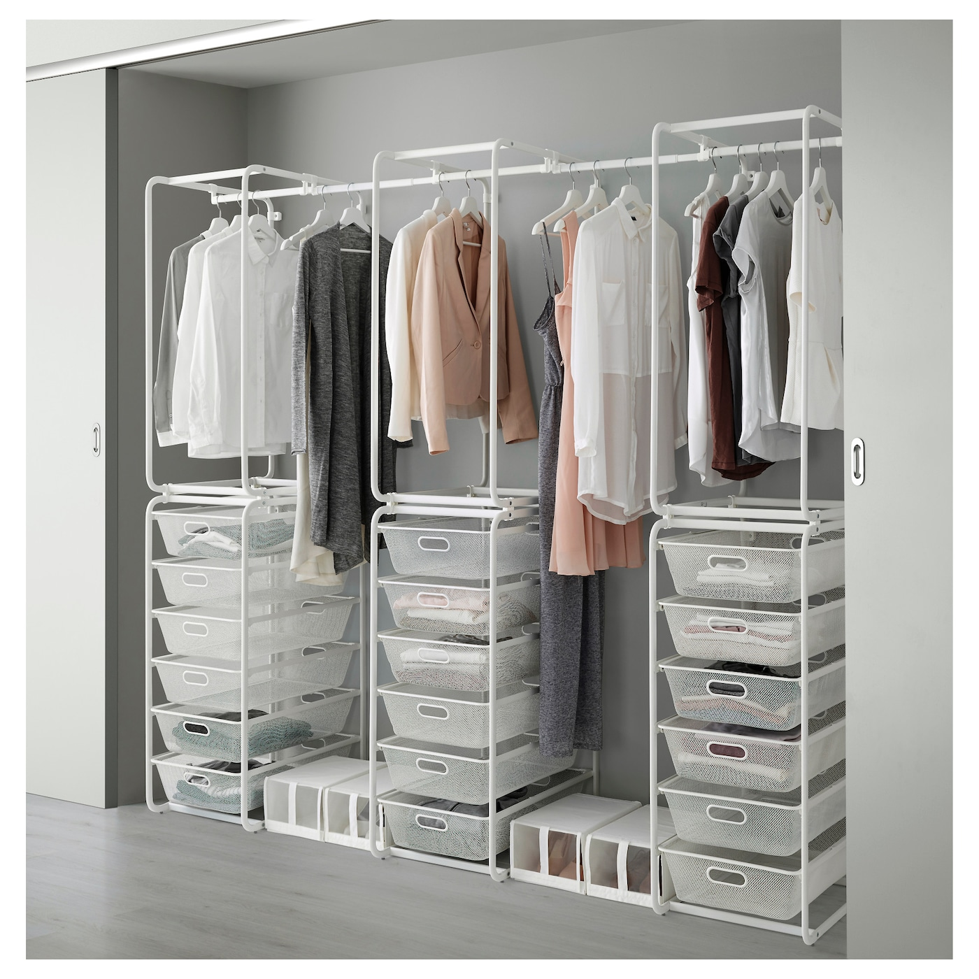 Algot frame mesh baskets rod white 203 243x60x206 cm ikea for Frame storage system