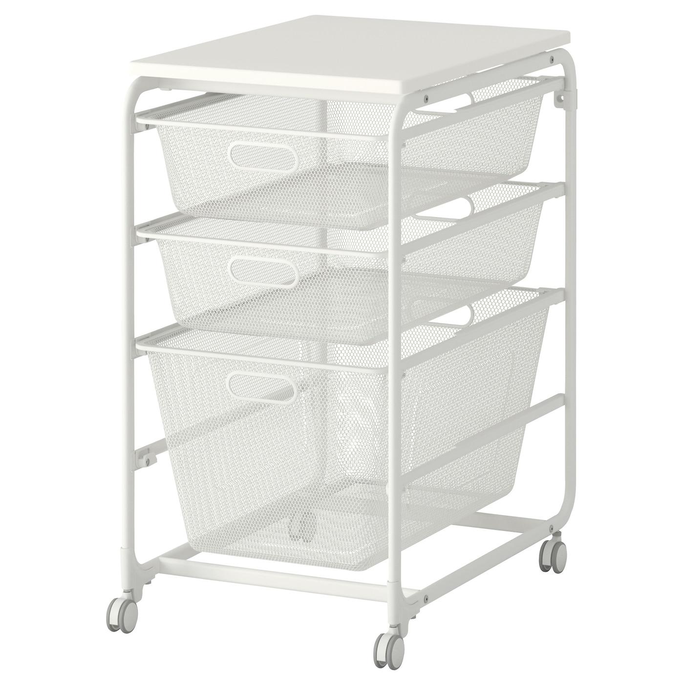 Algot frame mesh baskets top shelf castor white 41x60x78 for Cajonera metalica ikea