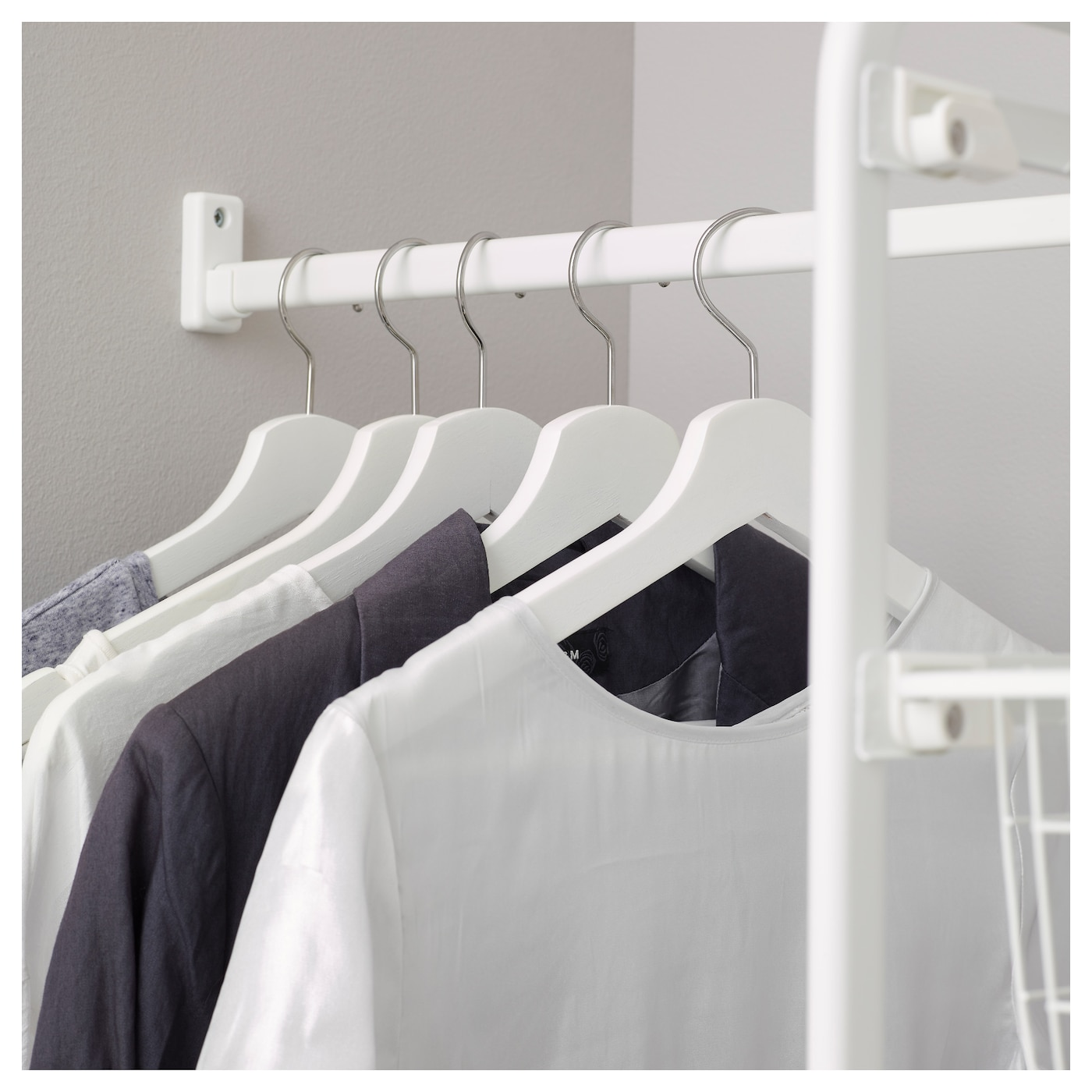 IKEA ALGOT rod for frame Gives you extra space for hanging clothes, bags and scarves.