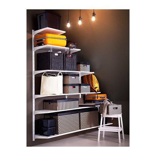 Algot wall upright shelves white 189x40x56 196 cm ikea for Slanted shelves ikea