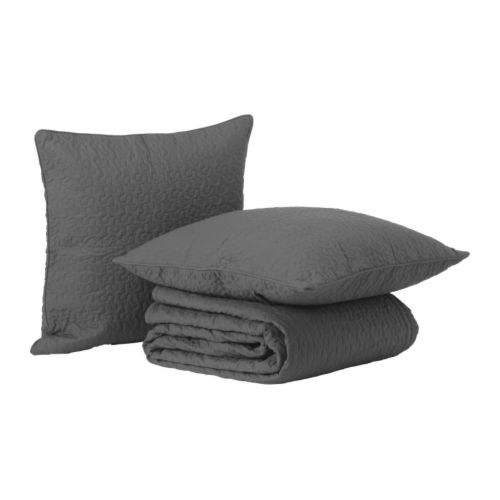 Alina bedspread and 2 cushion covers dark grey 260x280 for Housse de coussin 65x65