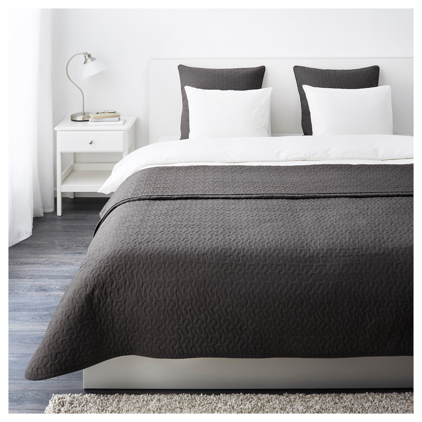 ALINA Bedspread and 2 cushion covers Dark grey 260x280/65x65 cm - IKEA