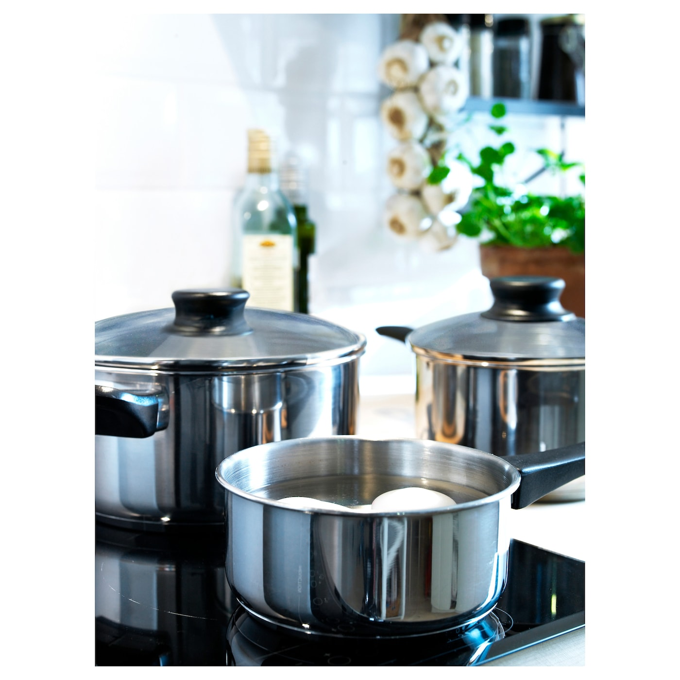 IKEA ANNONS 5-piece cookware set Works well on all types of hobs, including induction hob.