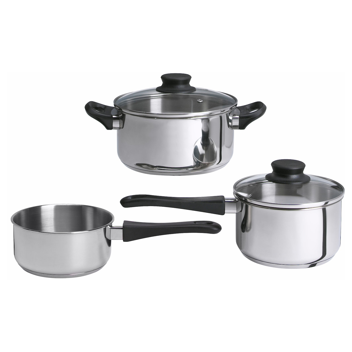 annons 5 piece cookware set glass stainless steel ikea. Black Bedroom Furniture Sets. Home Design Ideas