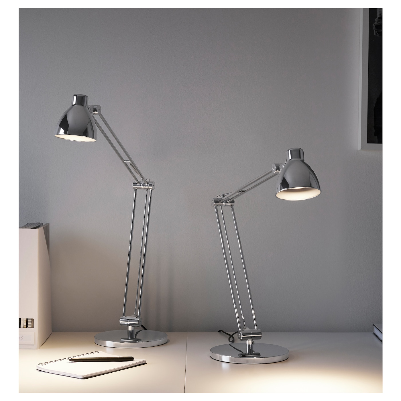 IKEA ANTIFONI work lamp Provides a directed light that is great for reading.