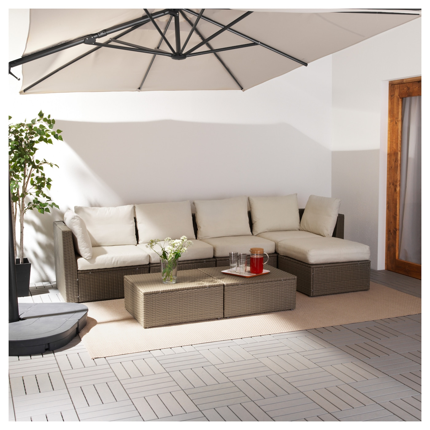 IKEA ARHOLMA 4-seat sofa with footstool, outdoor