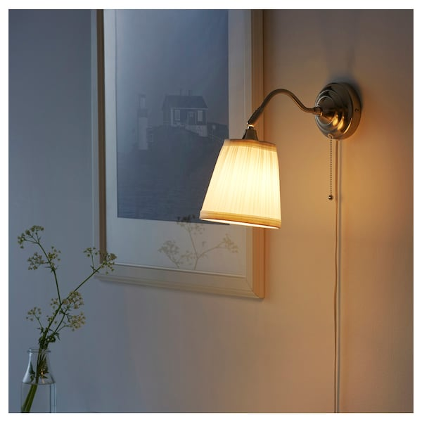 197 Rstid Wall Lamp Nickel Plated White Ikea