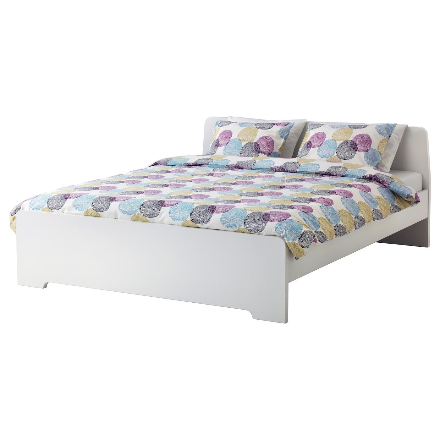 Askvoll bed frame white leirsund standard double ikea for Cadre de lit king plate forme ikea