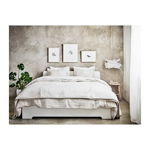 Ikea White Queen Bed amazoncom ikea leirvik bed frame white full size iron metal country style bedroom Ikea Askvoll Bed Frame Adjustable Bed Sides Allow You To Use Mattresses Of Different Thicknesses