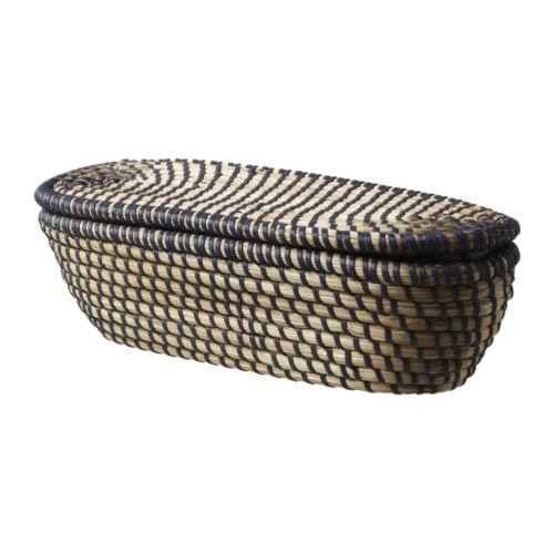 ÅSUNDEN Basket with lid IKEA Handmade; each basket is unique.