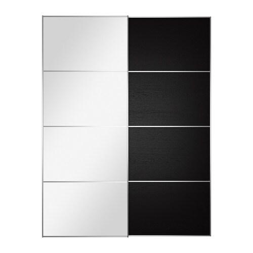 Auli ilseng pair of sliding doors mirror glass black brown for Brown sliding glass doors