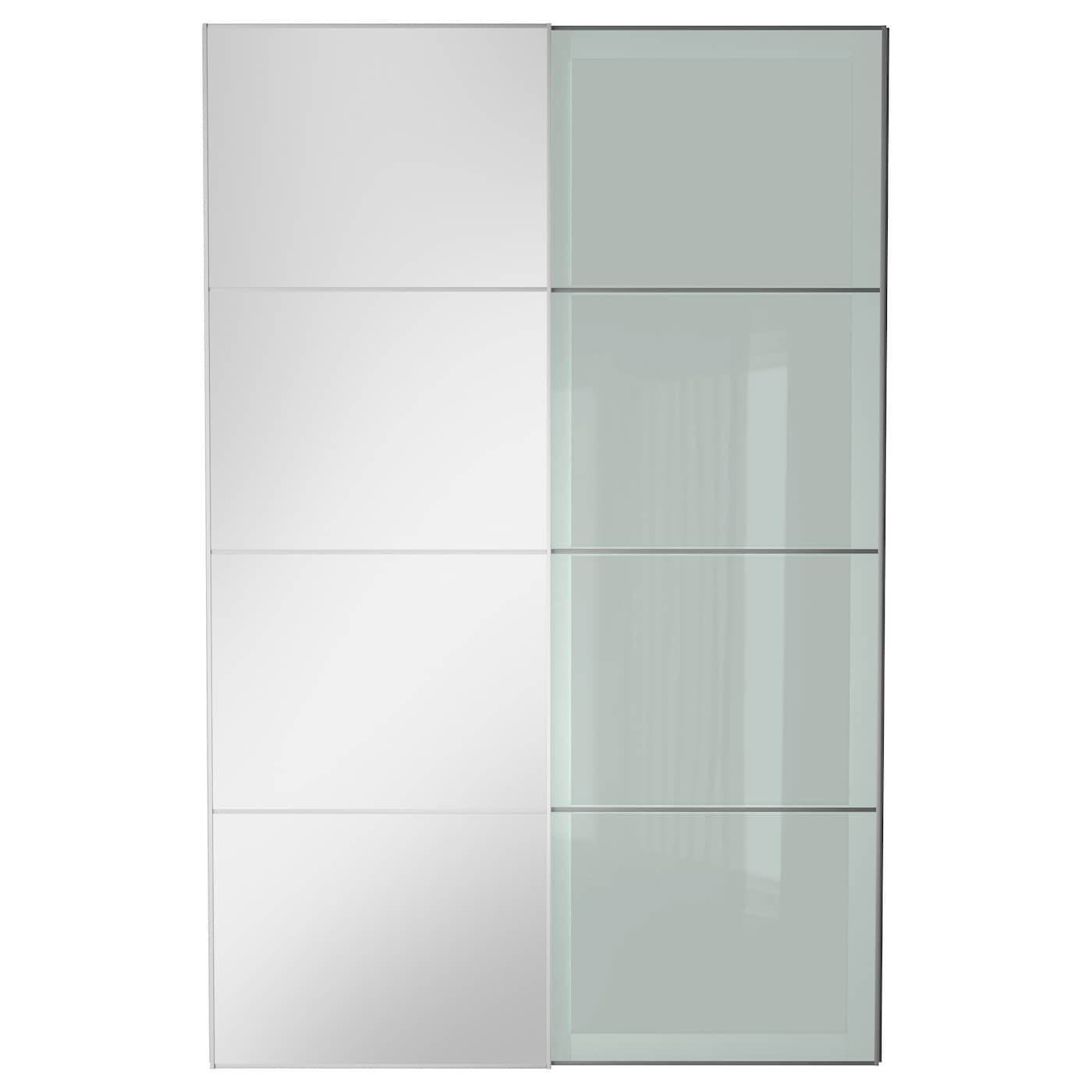 Auli sekken pair of sliding doors mirror glass frosted for Armoire porte coulissante miroir ikea