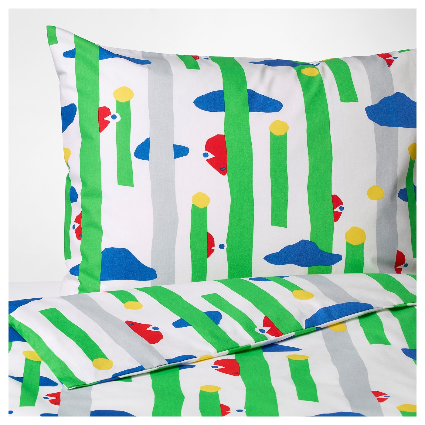 IKEA AVSIKTLIG quilt cover and 2 pillowcases Cotton, feels soft and nice against your skin.