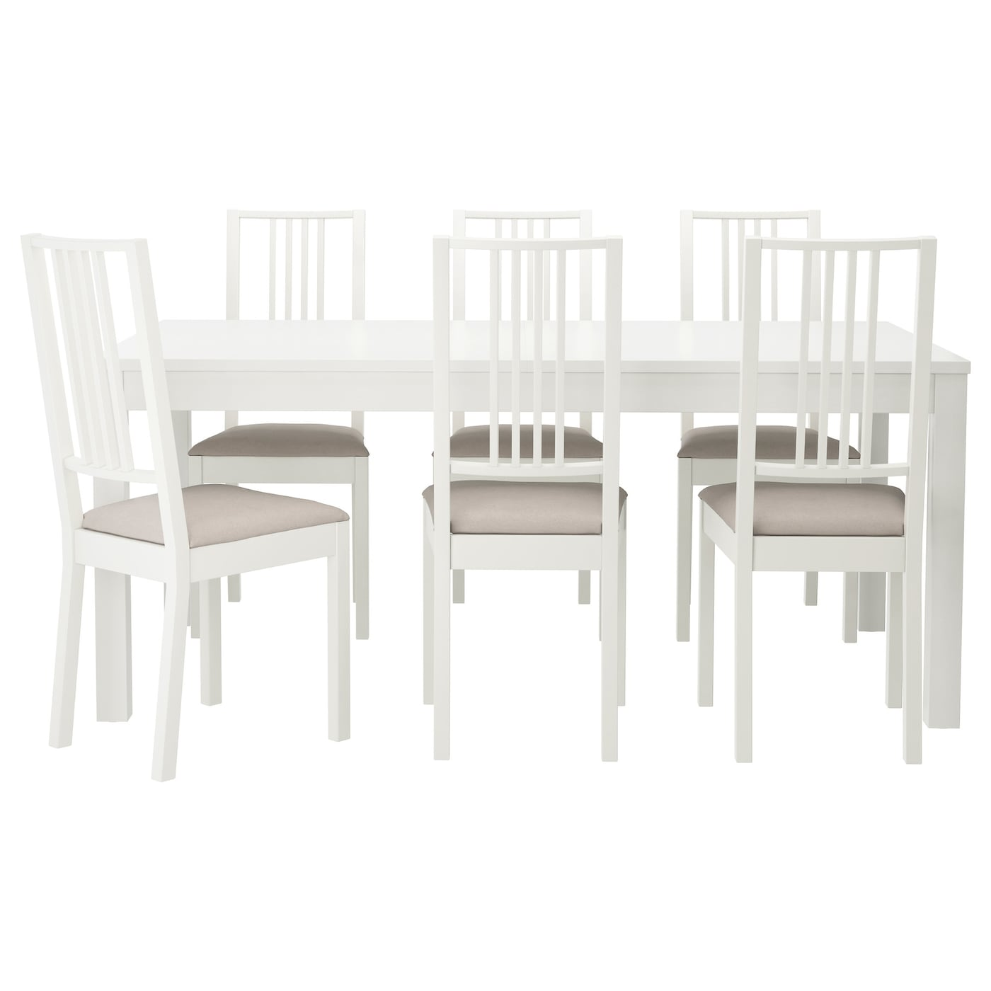 IKEA BÖRJE/BJURSTA table and 6 chairs The clear-lacquered surface is easy to wipe clean.