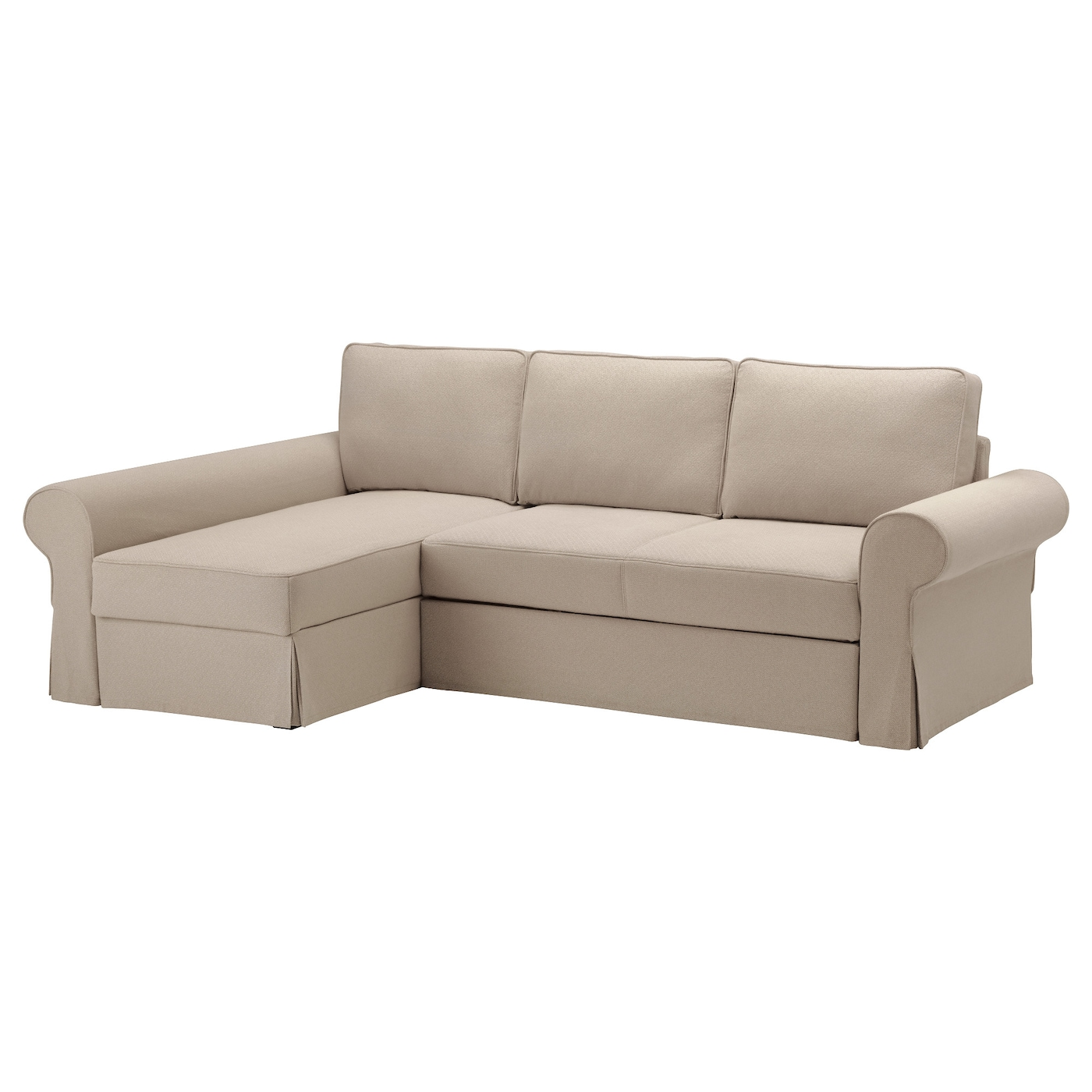 Backabro sofa bed with chaise longue hylte beige ikea for Beige sectional with chaise