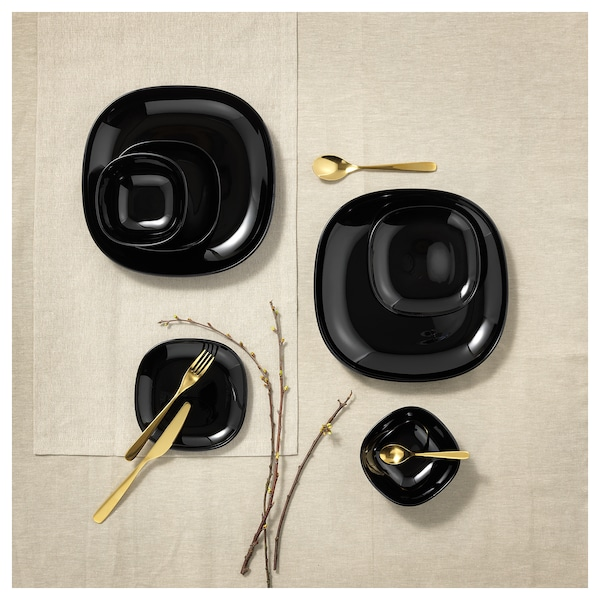 BACKIG Deep plate, black, 20x20 cm