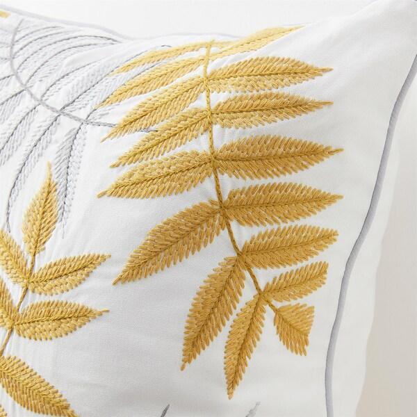 BACKKLÖVER cushion cover leaves yellow/grey 50 cm 50 cm