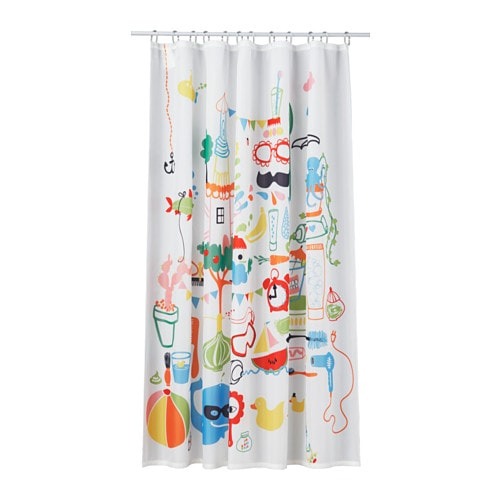 IKEA BADBÄCK shower curtain Densely-woven polyester fabric with water-repellent coating.