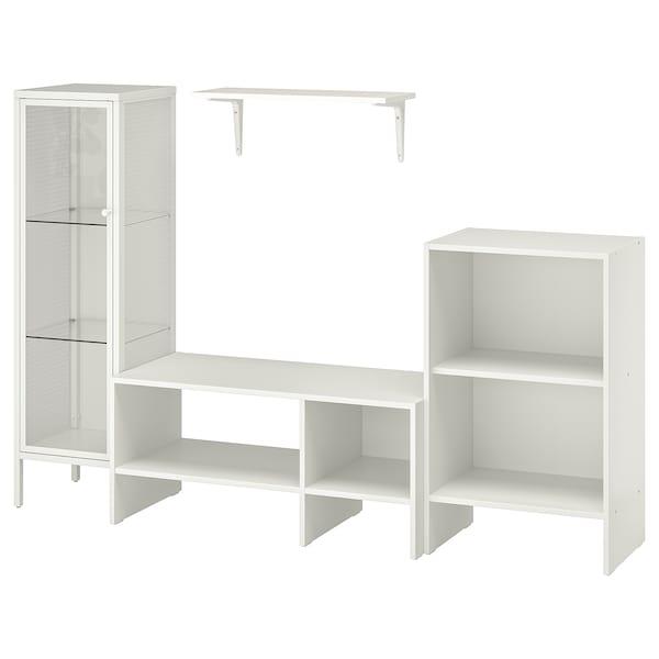 BAGGEBO TV storage combination, white metal, 174x35x116 cm