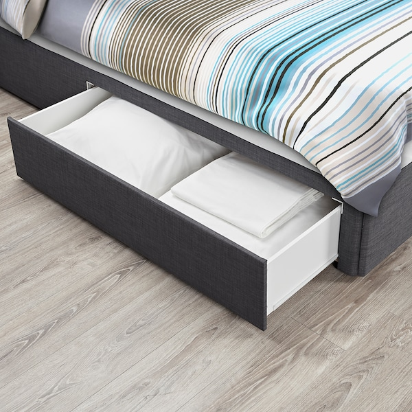 BALESTRAND Divan base with drawer, left/Skiftebo grey, Standard Single