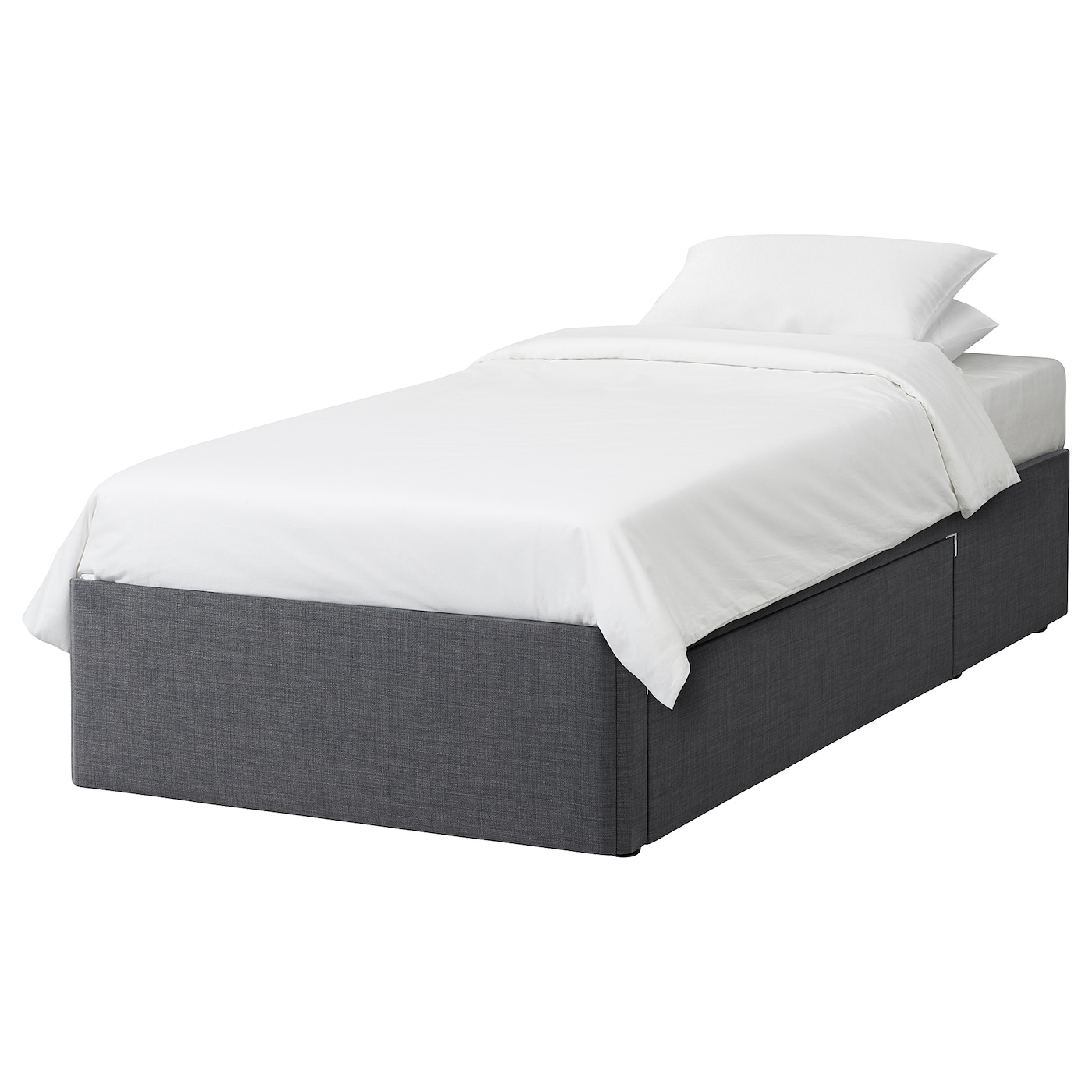 Balestrand divan base with drawer right skiftebo grey for Grey divan bed base