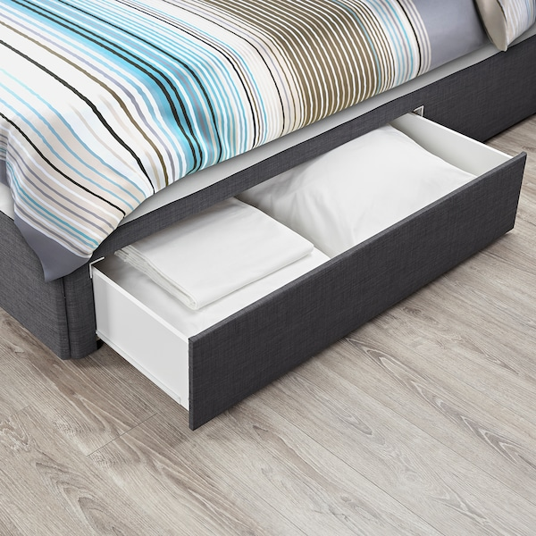 BALESTRAND Divan base with drawer, right/Skiftebo grey, Small Double