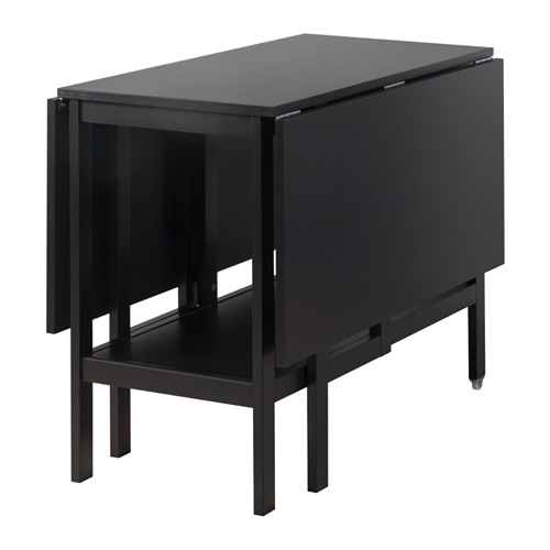 Barsviken drop leaf table black 45 90 135x93 cm ikea for Black dining table with leaf