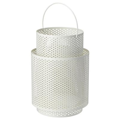 BEHÄRSKA Lantern for block candle, white, 26 cm