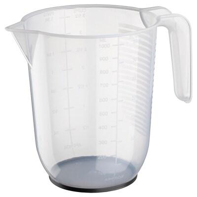 BEHÖVA measuring jug transparent/grey 14 cm 1 l
