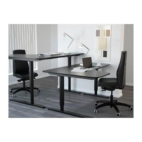bekant corner desk left sit stand black brown black 160x110 cm ikea. Black Bedroom Furniture Sets. Home Design Ideas