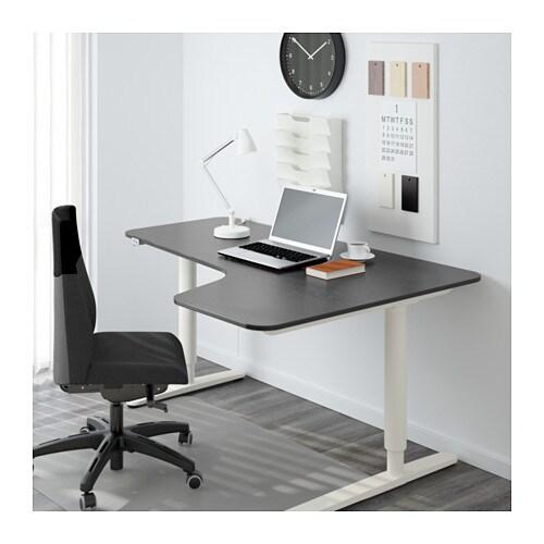bekant corner desk right sit stand black brown white 160x110 cm ikea. Black Bedroom Furniture Sets. Home Design Ideas