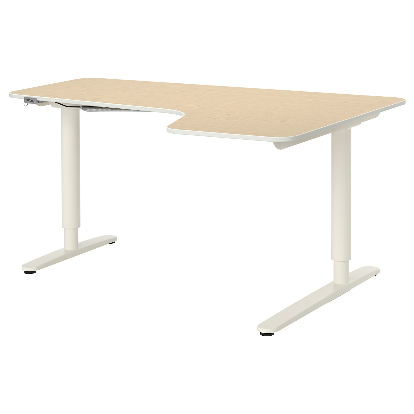 BEKANT Corner Desk Right Sit/stand Birch Veneer/white