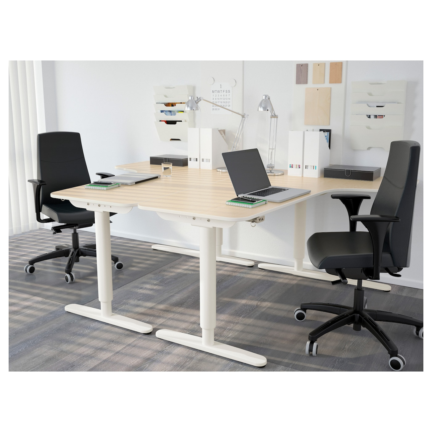 corner desk right sit stand birch veneer white 160x110 cm ikea