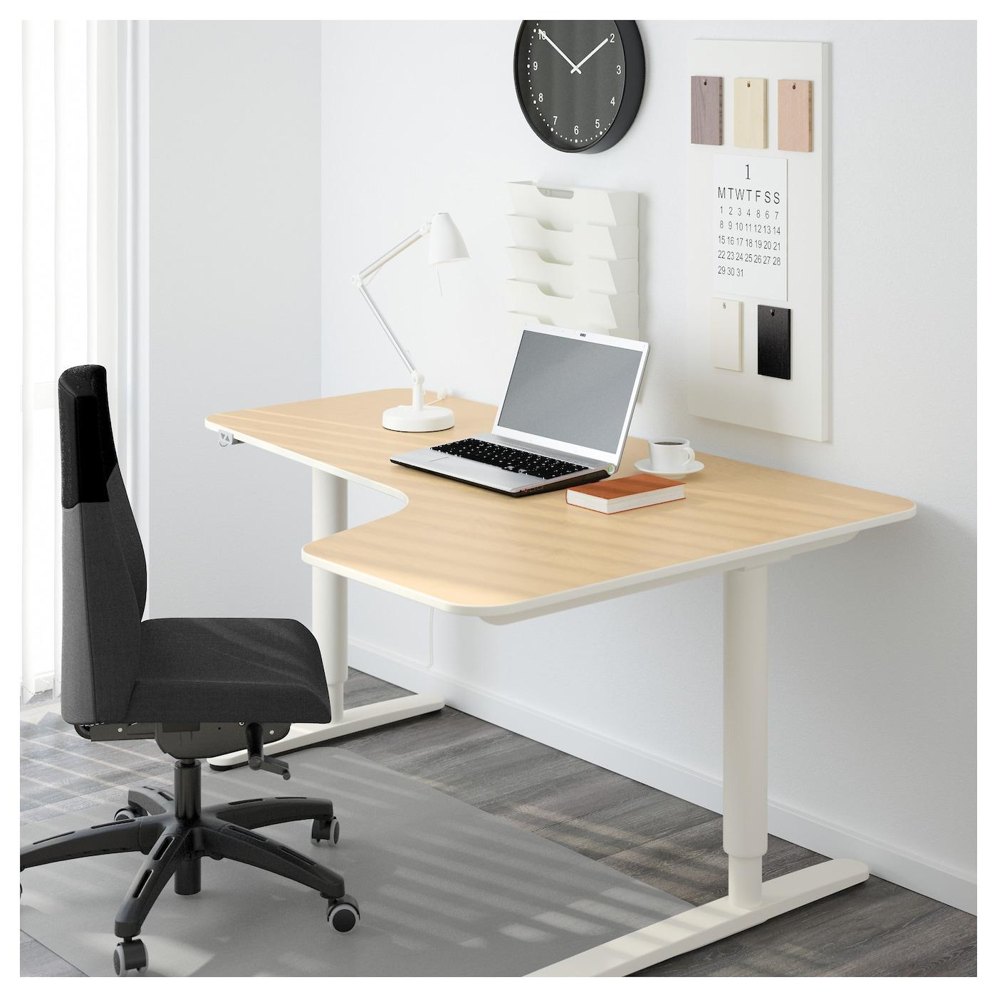 Bekant Corner Desk Right Sit Stand Birch Veneer White